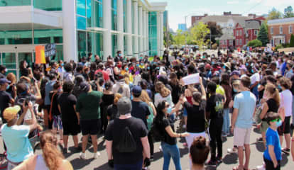Hundreds Attend Stamford Protest That Includes Eight-Minute Kneel Of Silence For George Floyd