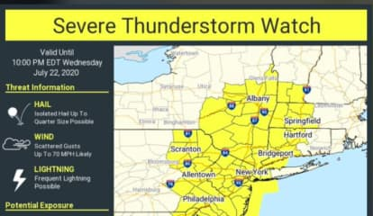 Severe Thunderstorm Watch Issued With Damaging 70 MPH Wind Gusts Possible