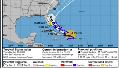 Newly Released Forecast Cone For Tropical Storm Isaias Includes NY