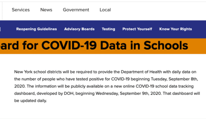 COVID-19: NY Schools Required To Provide Latest Data For New Online Dashboard Tracking Cases