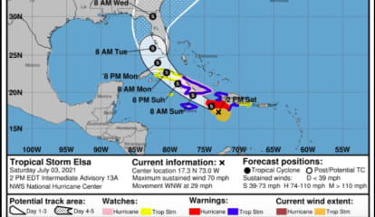 Projected Track Of First Hurricane Of Season, Now A Tropical Storm, Takes It Up Atlantic Coast