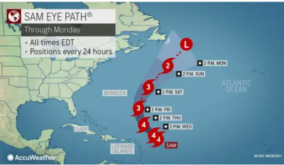 Forecasters Decide Which Of Two Possible Paths Cat 4 Hurricane Sam Will Likely Take