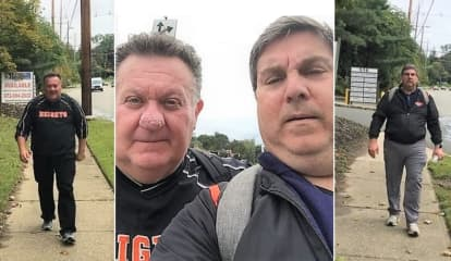 Dads Take Traditional Walk To Hasbrouck Heights HS Football Game -- 19.7 Miles Away