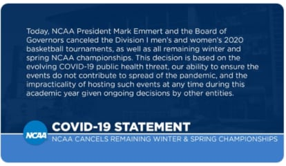 COVID-19 UPDATE: NCAA Tournament Cancelled
