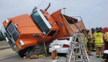 Dump Truck Full Of Stones Rolls Onto Sedan Along Rt. 30 In Lancaster (Photos)