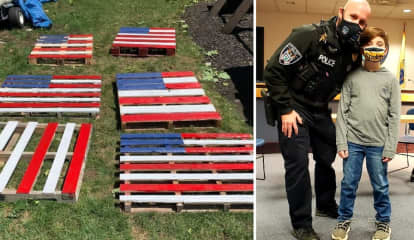 Mahwah Boy, 8, Donates $2,500 From Painted Flag Pallets To Little Ferry PD's New K9