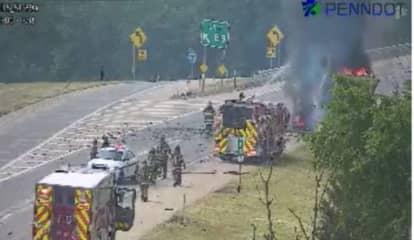 Truck Fire Closes Exit 89 At I-81, I-78 Interchange (Photos)