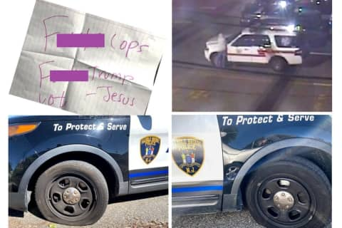 Saddle Brook PD: Maywood Man Slashes 12 Police Tires, Scrawls 'FU' On Hood, Leaves Curse Notes