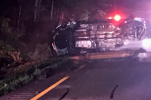 Two Hospitalized After Fiery Rollover Crash On Palisades Interstate Parkway