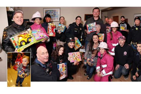 PHOTOS: Pink Heals, Bergen Responders Escort Boy, 2, With Cancer Bringing Toys To Ailing Kids