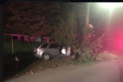 Car Crashes Off Road In Westchester