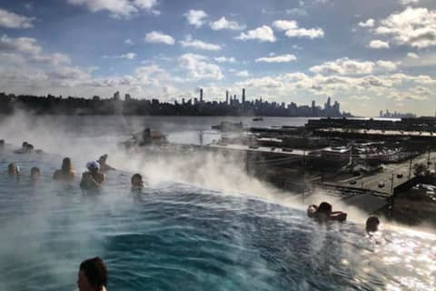 Brave Or Brilliant? SoJo Spa's Rooftop Pool Is Hot Spot On Cold Day