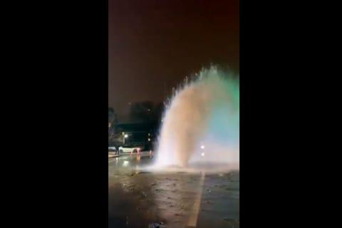 WATCH: Broken Main Causes Huge Geyser In Downtown Tenafly