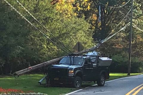 Roadway Closed When Contractor's Truck Snaps Utility Pole In Saddle River
