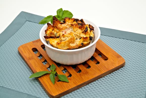 Savory Wild Mushroom Cheese Bread Pudding