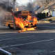 A bus driver got both of his occupants off before it erupted in flames in Cresskill, police said.