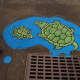Anthony Santella's artwork in Andreas Park reminds the public not to harm the turtles.