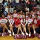 Peekskill High School cheerleaders were on hand for senior night.