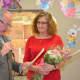 JoAnn Brendel holds her flowers.
