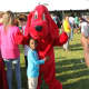 Clifford the Big Red Dog visiting students in Mount  Vernon.
