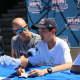 New York Yankee outfielder Brett Gardner with New Rochelle volunteer Jake Gallin.