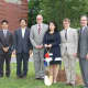 Eastchester parent Chiaki Umemoto with members of the school administration at the sakura cherry tree planting.