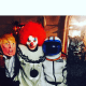 Madonna and her kids with Halloween costumes they got at Beyond Costumes in Yonkers.