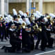 The Trumbull High School Golden Eagle Marching Band wows the crowds at the Stamford Downtown Parade Spectacular.