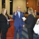 P.O. Ruben Berrios taking the oath of office with Town Clerk Raquel Ventura