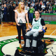 "Old Tappan's Kaitlyn Kiely with boyfriend Matt Wetherbee at the TD Garden Tuesday, where both were honored by the Boston Celtics as ""Heroes Among Us."""