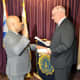 New Westchester County Police Officer Jason Washco taking the oath of office