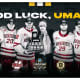 The UMass hockey team got a pat on the back from the Boston Bruins after their improbable win.