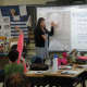 Fifth-grade teacher Lisa Coen discusses float design and advertising in her class at Austin Road Elementary School.