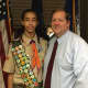 Boy Scout Carrington Gregori and Clarkstown Supervisor George Hoehmann put their heads together and came up with the idea of displaying local artifacts in Town Hall. Gregori is helping to gather objects and is building the display cases.
