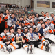 Defending state champion Mamaroneck's varsity hockey team after its Division 1 playoff win over Suffern.