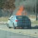 A second vehicle on fire.