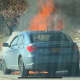 Traffic was slowed on the Southern State Parkway as a car fire burned.