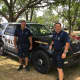 Norwalk Police Department marine officers Rich Delallo and Michael Silva at Saturday's Water Safety Day at Calf Pasture Beach.