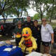 From left to right: Doreen Miner from Stew Leonard III Children's Charities, Lt. Terry Blake and Sgt. Sofia Gulino of the Norwalk Police Department, and City of Norwalk Aquatics Director Pam Raila at Saturday's Water Safety Day at Calf Pasture Beach.