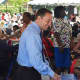 Rob Astorino talks with some of the guests at the Westchester annual senior pool party/barbeque in White Plains.