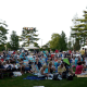 A crowd gathers for Shakespeare on the Green in Stamford.
