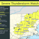 A look at areas, including Dutchess County, where a Severe Thunderstorm Watch is in effect with tornadoes possible.