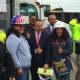 Bridgeport Mayor Joe Ganim celebrates the Ready2Work programs with construction workers and trainees at PSEG's power plant on Atlantic Street.