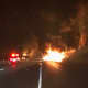 A fiery crash early Saturday involving two tractor-trailers occurred just past Exit 16 on eastbound on I-84 in Southbury.