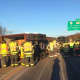 The Danbury Fire Department is on the scene of an overturned tractor-trailer that is blocking two lanes of I-84 between Exits 3 and 2 on Monday morning.