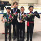 From left: gold medalist Keita Horiko; pewter medalist Andriy Kratyuk; silver medalist Jacob Sanchez of Montgomery, and bronze medalist Nhat-Viet Nguyen.