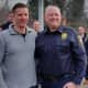 Retired Yorktown police Officer John Hassett, left, with Yorktown Police Chief Robert Noble. Hassett stepped down after 30 years of service to the law enforcement community this week.