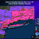 A look at counties where Winter Weather Warnings (pink) and Advisories (purple) are in effect.