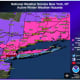 Winter Storm Warnings are in effect for areas in pink, and Winter Storm Advisories for areas in purple.