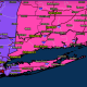 A look at areas where Winter Storm Warnings (pink) and Winter Weather Advisories (purple) are in effect for late Monday into Tuesday.